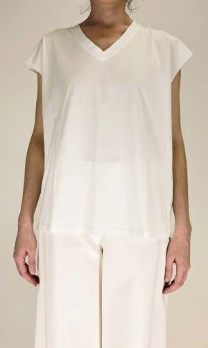 Manila Grace V-Neck Shirt bianco | Calamita Onlineshop