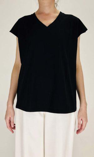 Manila Grace V-Neck Shirt nero | Calamita Onlineshop