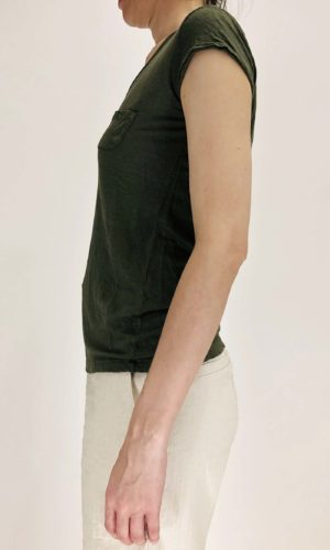 Transit Leinenshirt green mit V-Neck | Calamita Onlineshop